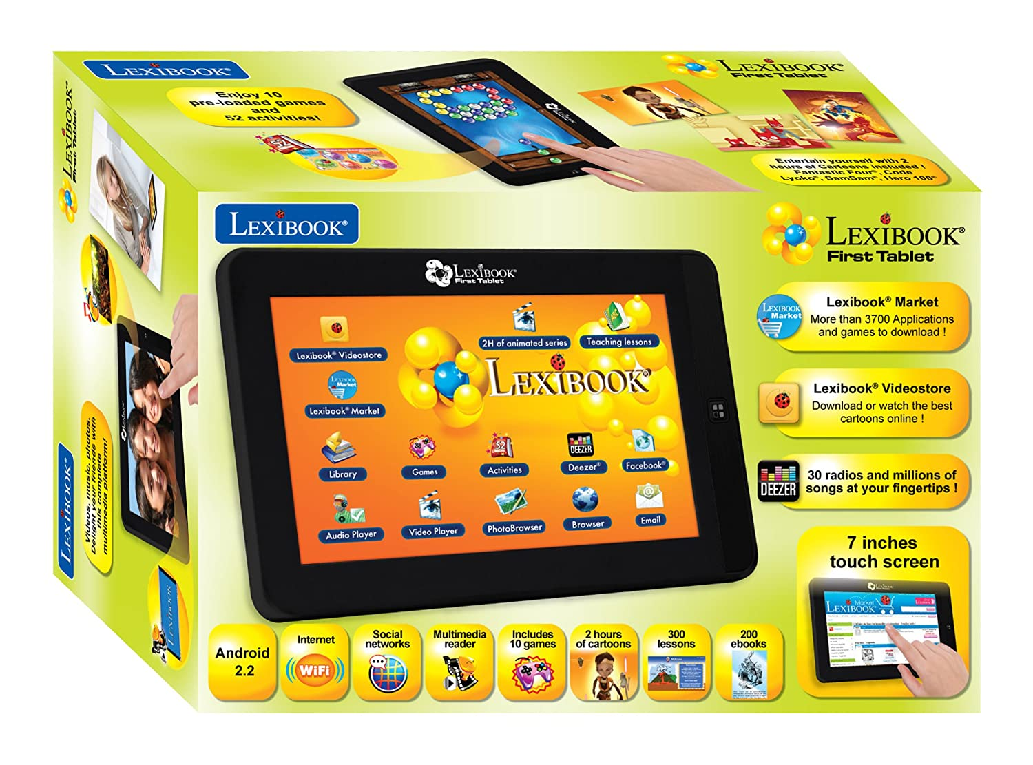 Lexibook First Android Child Educational Tablet, General Knowledge Games,  Included Library, USB, TF Card & Aux-In Connection - MFC150GB, Black