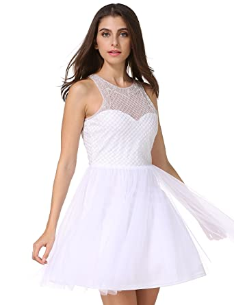 MANER Women\'s Fashion Tulle Beaded Short Gowns Homecoming Prom ...