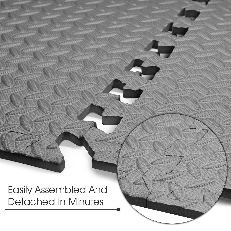 Yes4All Interlocking Exercise Foam Mats with Border – Interlocking Floor Mats for Gym Equipment – Eva Interlocking Floor Tiles (Gray) by Yes4All (Image #6)