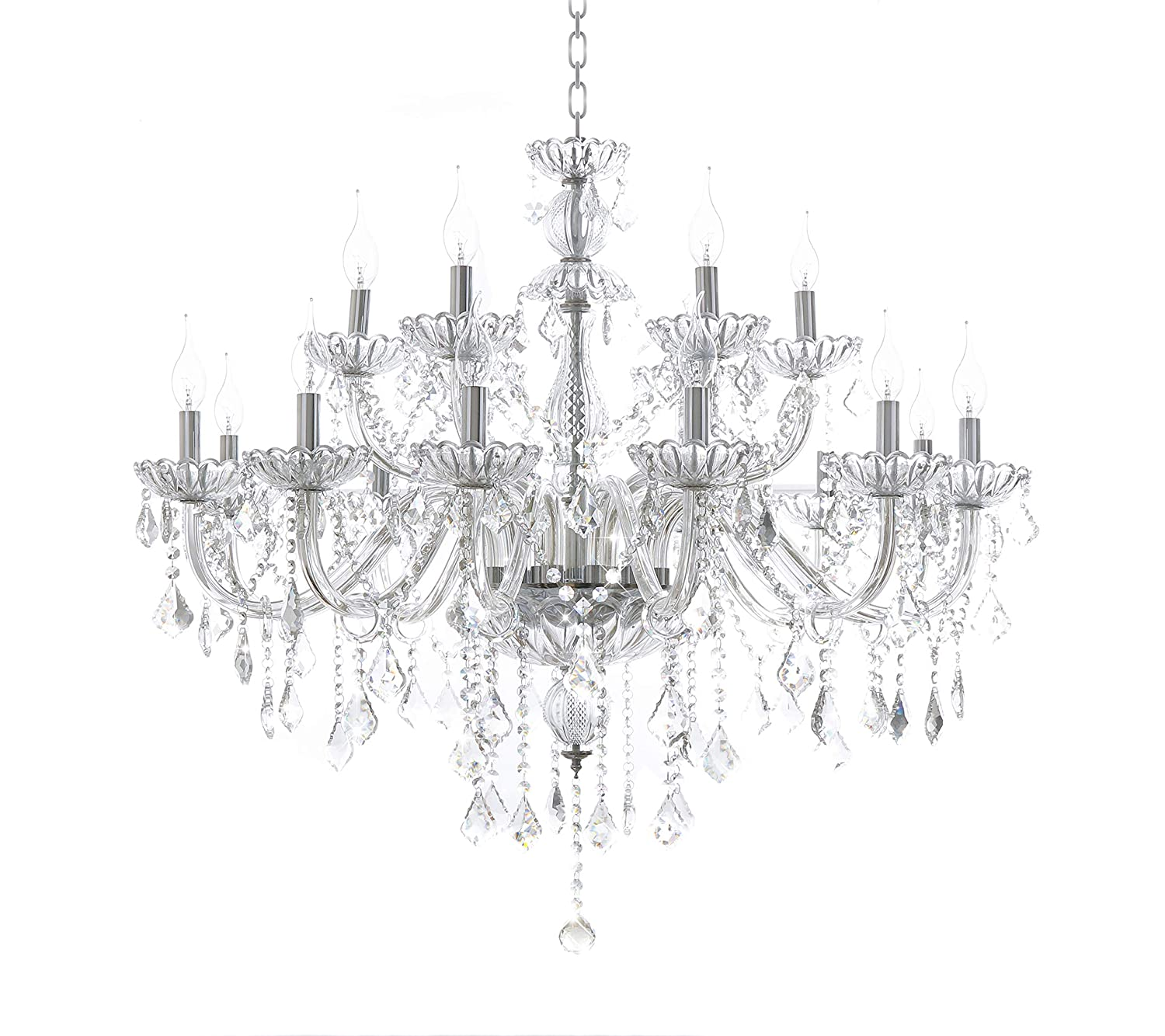 new concept b9f45 7ac9d Generic Luxury Pendant Lamp Crystals Chandelier 18 Lights Arms Lamp Color  Clear