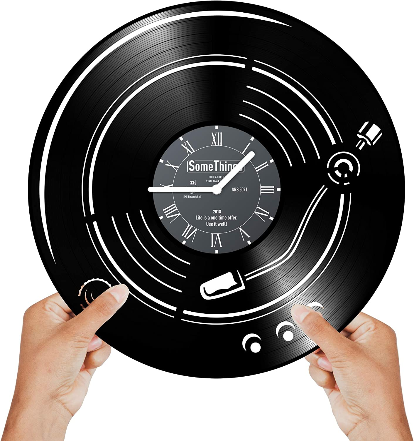 Music Vinyl Clock - Phonograph and Gramophone Record LP Player Themed Gifts Idea for Music lovers Men Women and Kids Unique - Musicians Notes Vintage Theme Art Wall Decor and Decorations Artwork Black