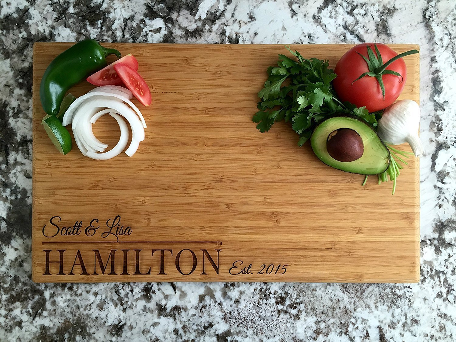 Personalized by Name Cutting Board for Kitchen - Wood Cutting Boards Housewarming Presents (11 x 17 Single Tone Bamboo Rectangular, Hamilton Design)