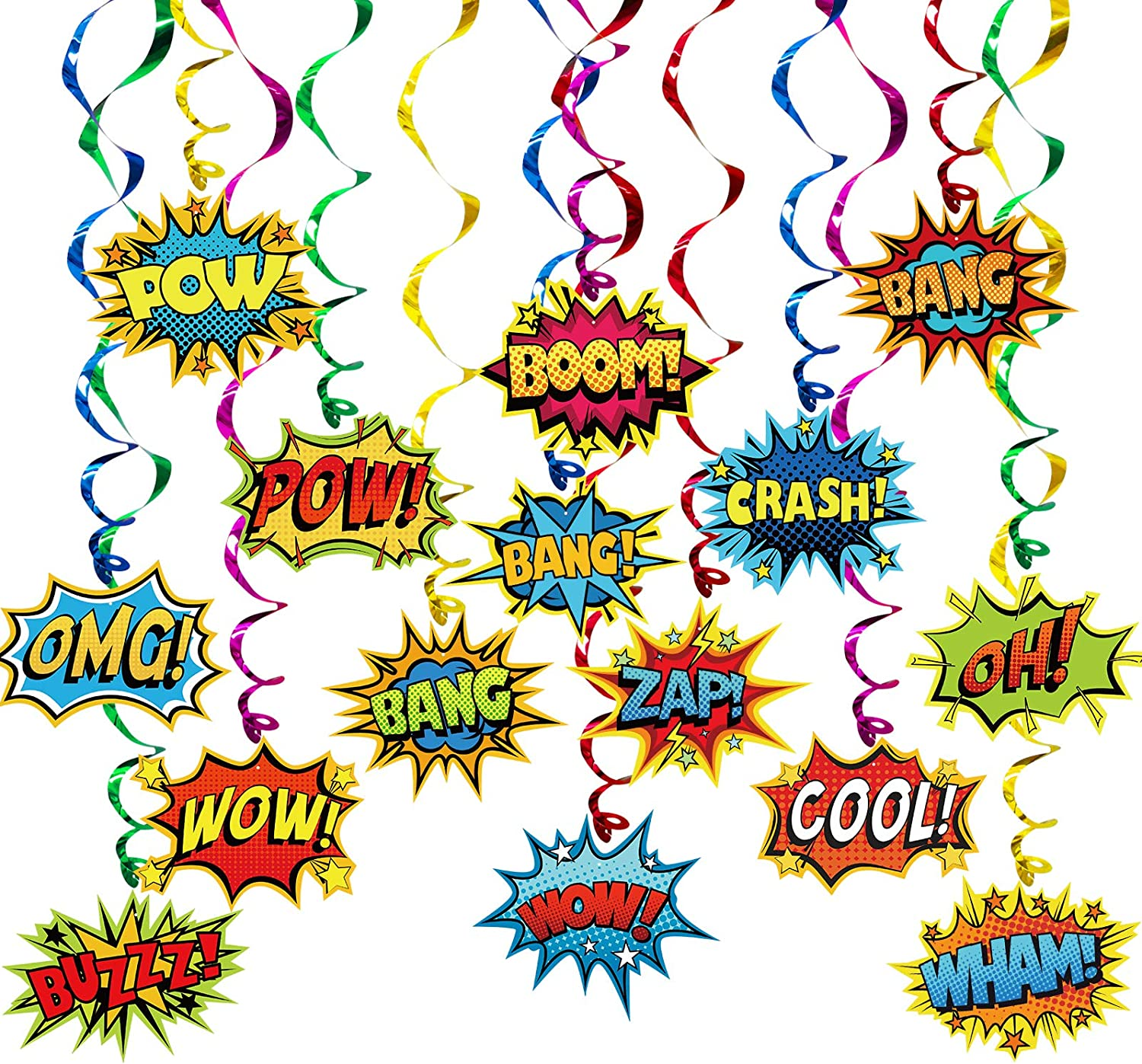 Superhero Party Supplies Decorations 30 Pack Foil Ceiling Hanging Swirls Streams Party Banner Decor for Kids Adults Fashion Hero Birthday Celebrating Party Events Baby Shower Room Wall Decor 30 Counts