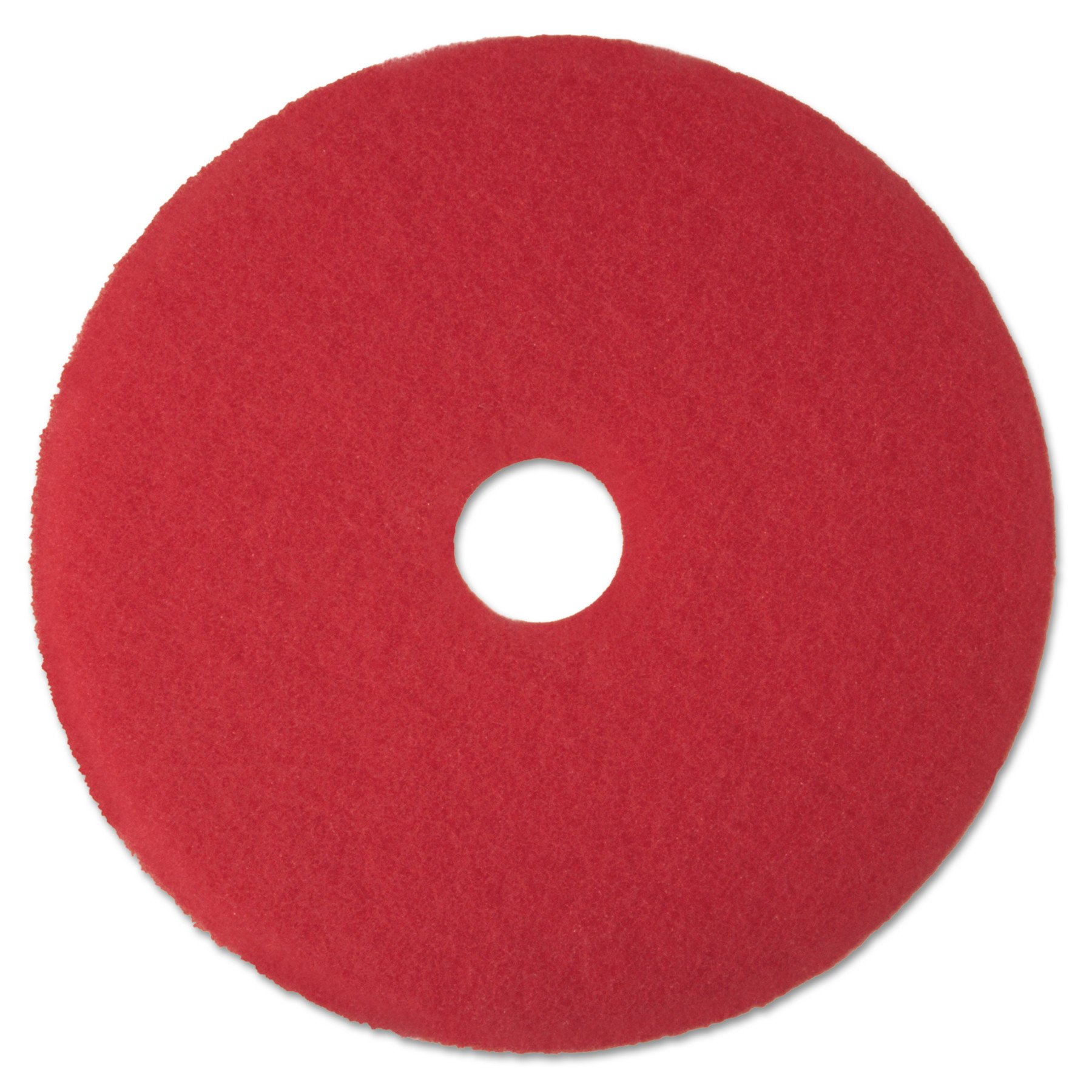 3M Red Buffer Pad 5100, 19'' Floor Buffer, Machine Use (Case of 5)