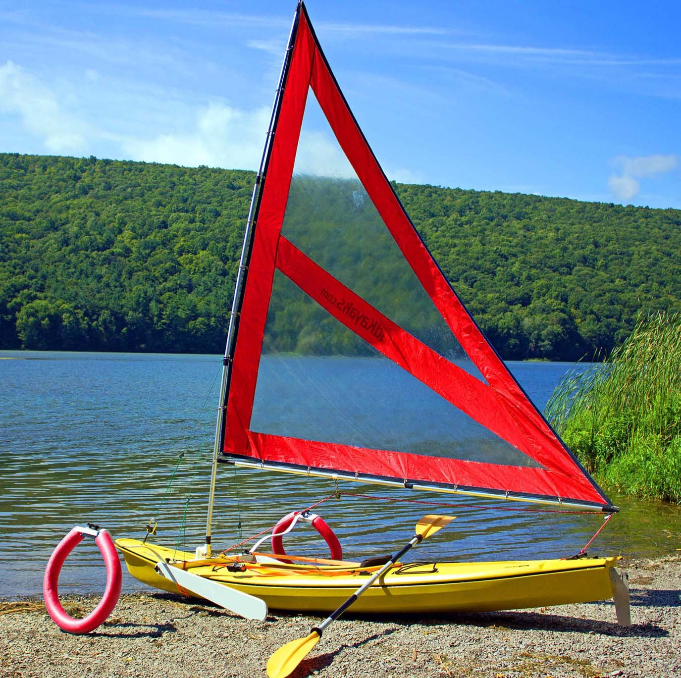 Serenity Upwind Kayak Sail and Canoe Sail Kit (Red). Complete with Telescoping Mast, Boom, Outriggers, Lee Boards, All Rigging Included! Compact, Portable, Easy to Set up - Makes a great gift !