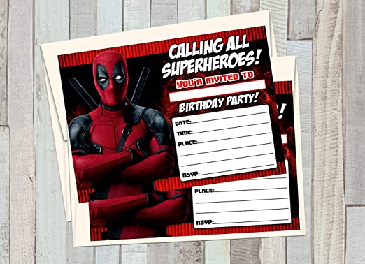 12 DEADPOOL Superheroes Birthday Invitations (12 5x7in Cards, 12 matching white envelopes)