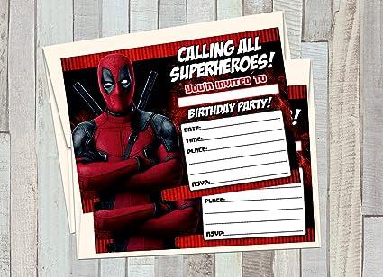 12 Invitaciones De Cumpleaños De Superhéroes De Deadpool 12