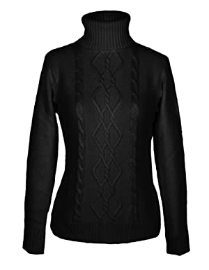 G2 Chic Women's Diamond Cable Knit Ribbed Turtleneck Sweater(TOP-SWT,BLK-SMALL)