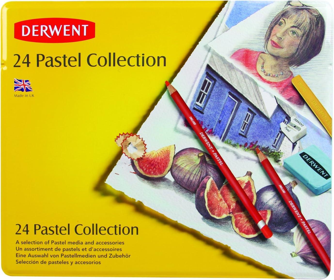0700301 24 Count Derwent Pastel Collection Metal Tin