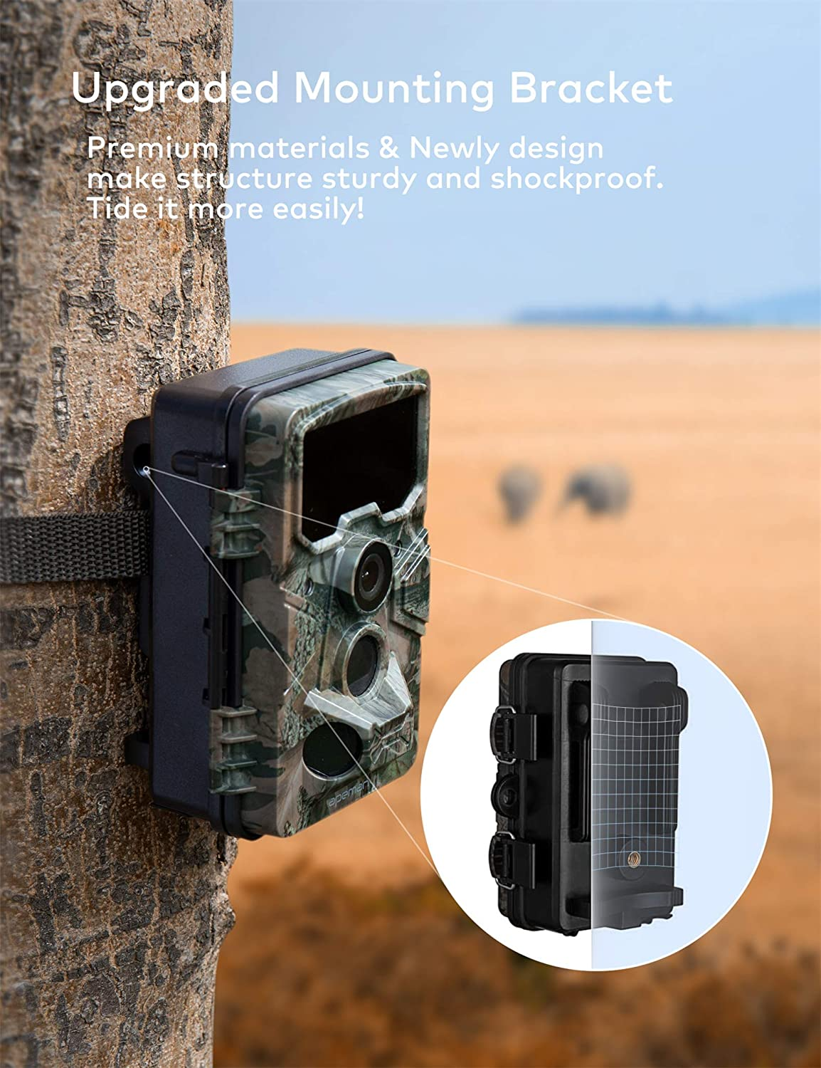116/° Wide-Angle Lens 65ft Trigger Distance Game Camera for House Security and Wildlife Monitoring APEMAN Trail Camera 20MP 1080P with 16GB TF Card 120/° Detection Range