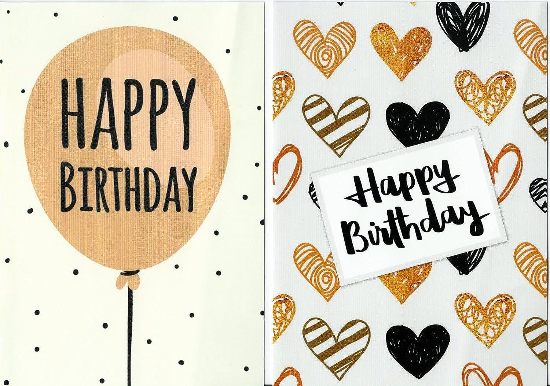 Lot de 10cartes d'anniversaire Budget, décors modernes et enveloppes par Greetingles. Fabriqué en Royaume-Uni.
