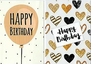 Greetingles, confezione di 10 biglietti di compleanno, design moderno, buste incluse, prodotto realizzato nel Regno Unito