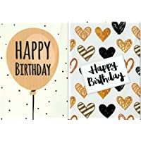 Pack of 10 Budget Birthday Cards, Modern Designs & Envelopes by Greetingles. Made in UK