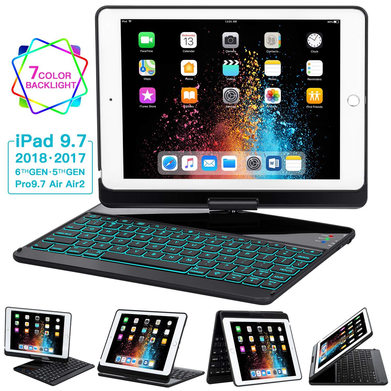 iPad Keyboard Case 9.7 for iPad 2018 (6th Gen) - 2017(5th Gen) - iPad Pro 9.7 - Air 2 & 1, 360 Rotate 7 Color Backlit Wireless/BT iPad Case with Keyboard, Auto Sleep Wake, 9.7 inch, Black