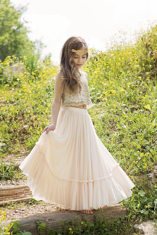 Amazon Com Gold Boho Chic Flower Girl Dress Junior Bridesmaid