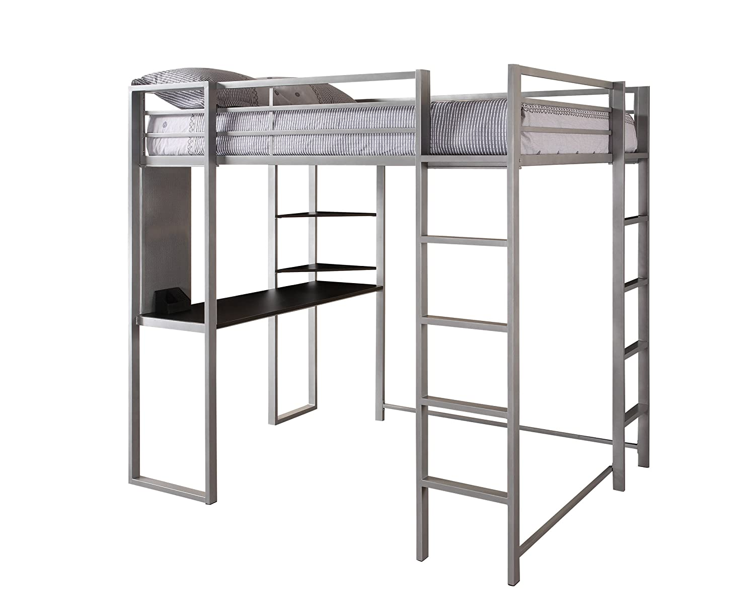 Full Size Bed With Desk Part - 34: Amazon.com: DHP Abode Full-Size Loft Bed Metal Frame With Desk And Ladder,  Silver: Kitchen U0026 Dining