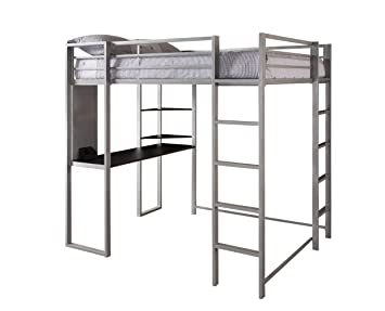 DHP Abode Full Size Loft Bed Metal Frame With Desk And Ladder, Silver