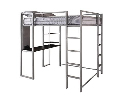 Amazoncom DHP Abode FullSize Loft Bed Metal Frame with Desk and