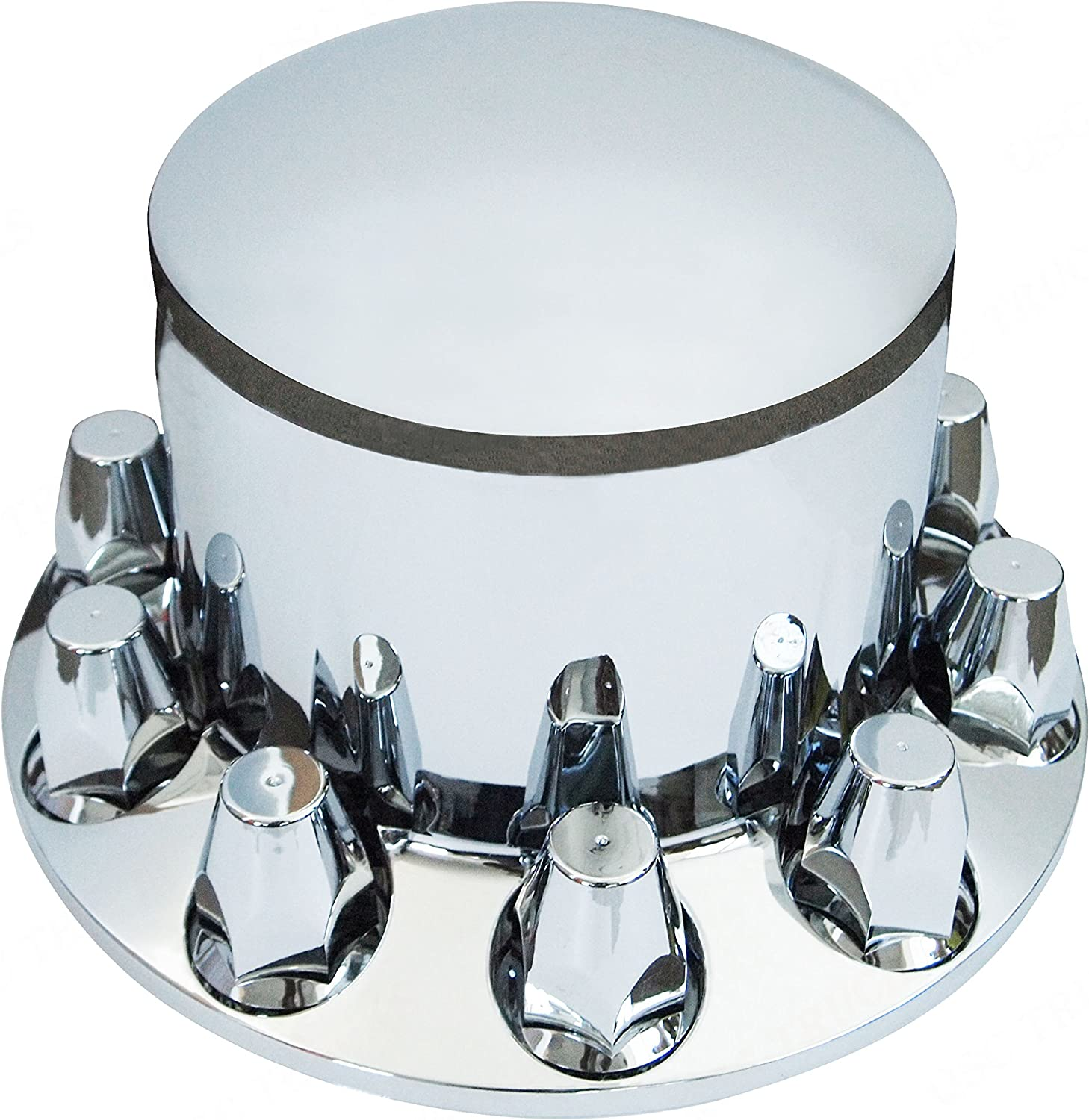 Wheel Cover Kit Chrome Front /& Rear Complete 33mm Lug Covers Semi Truck