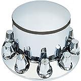 QSC Chrome Semi Truck Dome Rear Axle Cover kits Hub Cap 33mm Thread on Lug Nuts