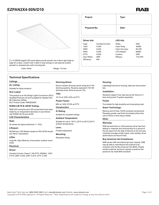 2x4' LED Flat Panel Light: 50W Recessed Drop Ceiling Light - Troffer Rab Dimming Led Troffer Wiring Diagrams on