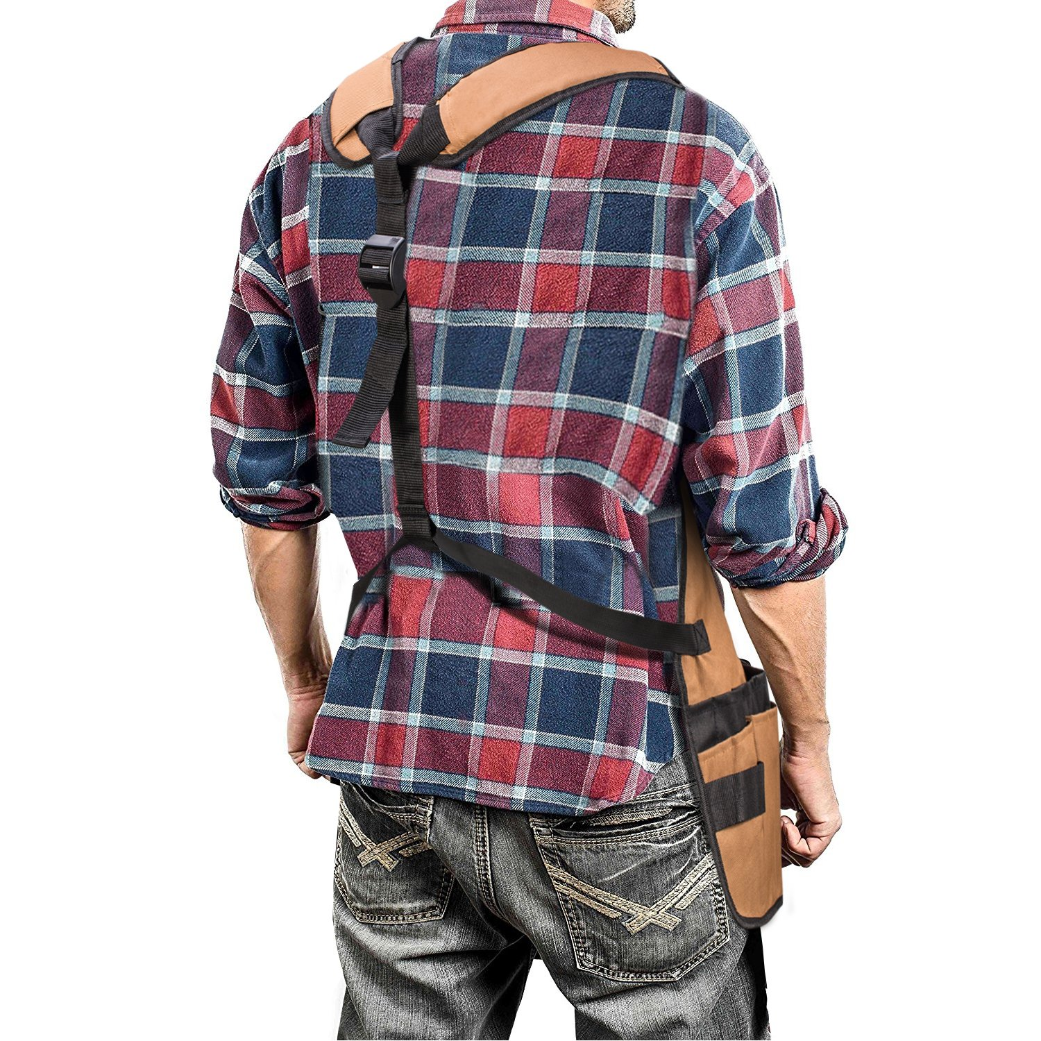 Work Apron - UHINOOS 16 Pockets Professional Heavy Duty Waterproof Tool Apron With Adjustable Cross-back Strap Fits Men & Women (brown) by UHINOOS (Image #2)