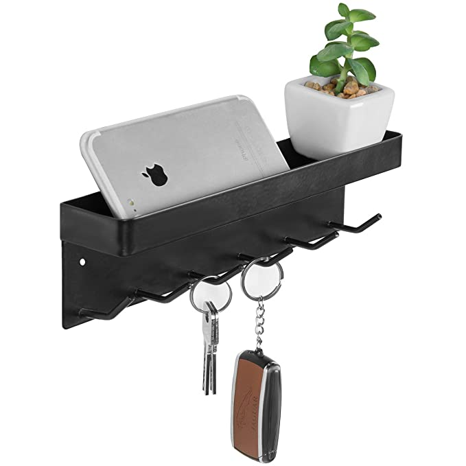 Amazon.com: MyGift 6-Hook negro llave de metal soporte de ...