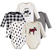 Hudson Baby Unisex Baby Long Sleeve Cotton Bodysuits, Moose Long Sleeve 5 Pack, 0-3 Months (3M)