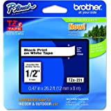 Brother - TZe-231 - Ruban Cassette 12 mm Noir sur Blanc - Laminé