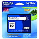 Brother TZe231 Laminated Black on White Tape, Retail Packaging