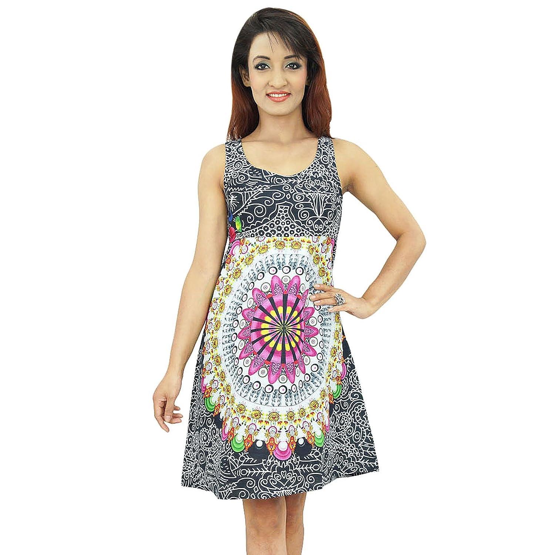 Lässige Strandkleid Floral Cotton Tunika Frauen-Abnutzungs-Sommer Sommerkleid