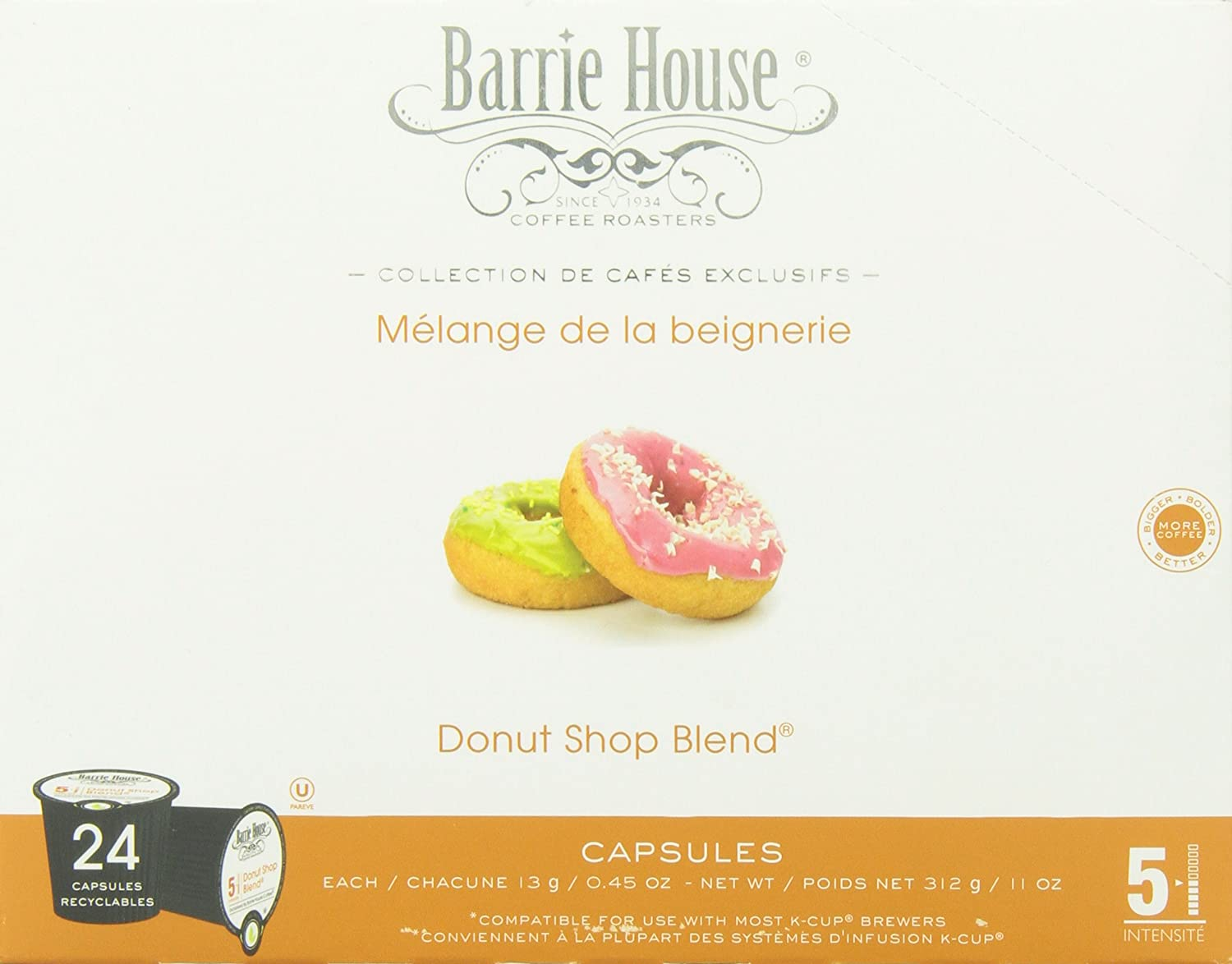 Barrie House Coffee Donut Shop Blend Capsules, 24 Count: Amazon.com: Grocery & Gourmet Food