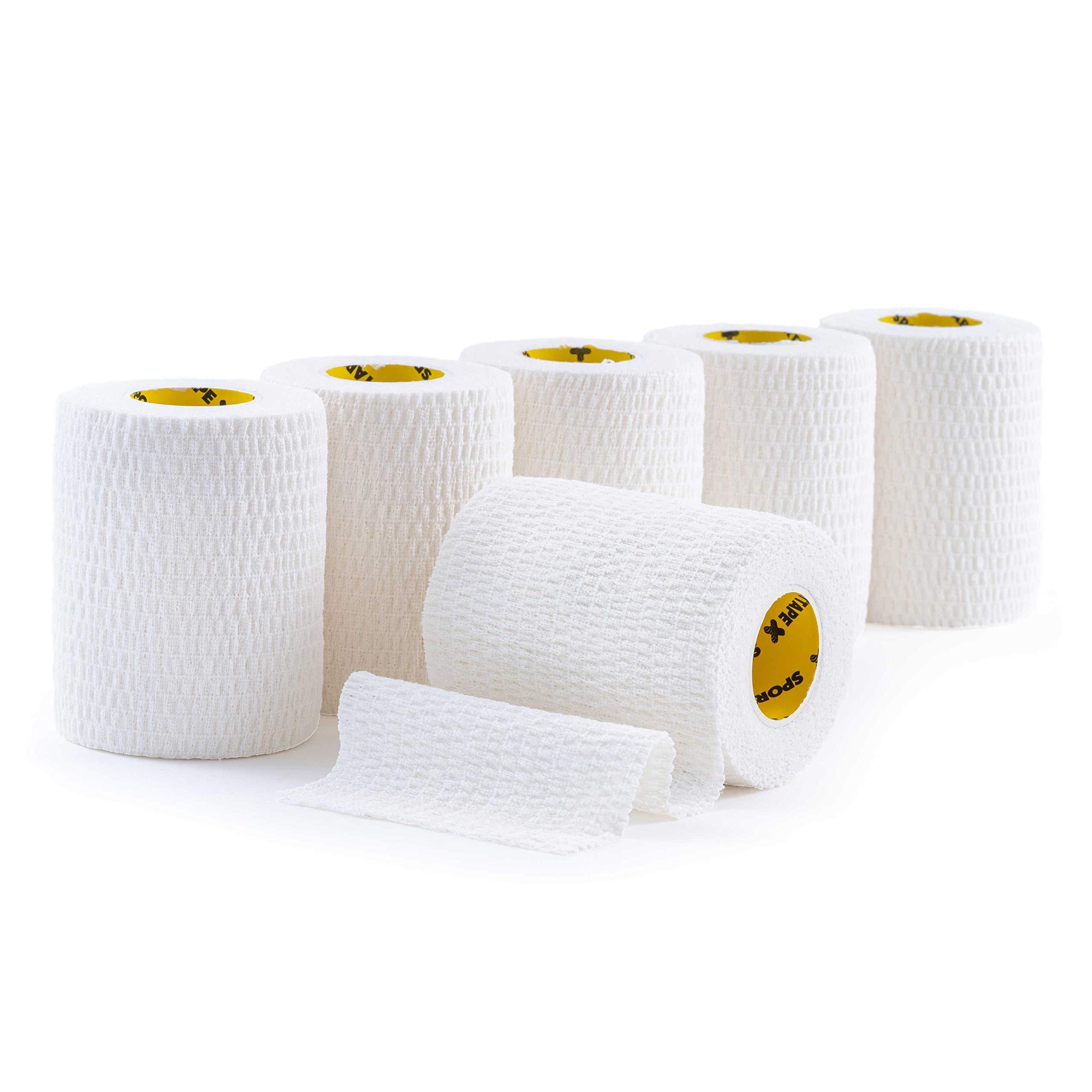 6 Rolls - SPORTTAPE Tear EAB - White - 7.5cm x 4.5m - Rugby Lifting Tape, Elastic Adhesive Bandage Sports Strapping Tape, Tear Light EAB, Lifting Tape