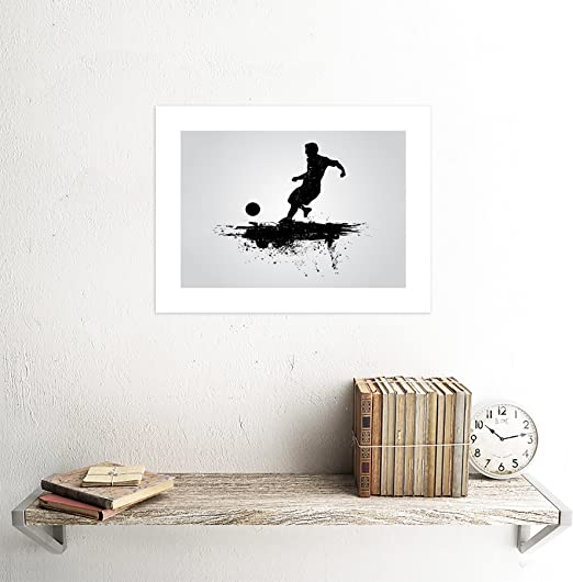 SPORT FOOTBALL SOCCER SILHOUETTE SPLASH BLACK BLACK FRAMED ART PRINT B12X13356