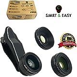 Lens Kit Includes 230° Fisheye Lens - 15X Macro Lens & 0.65X Super Wide Angle Lens - Clip on Cell Phone Lens Camera Lens Kits for iPhone 7, 6s,6,5s,S7,S7 Edge, S6,S6 Edge - HD Camera Lens Kit (Black)