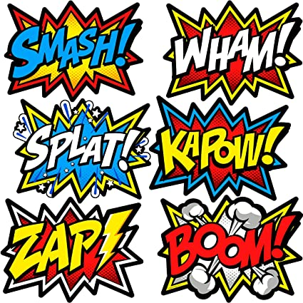 amazon com large superhero word cutouts birthday party supplies