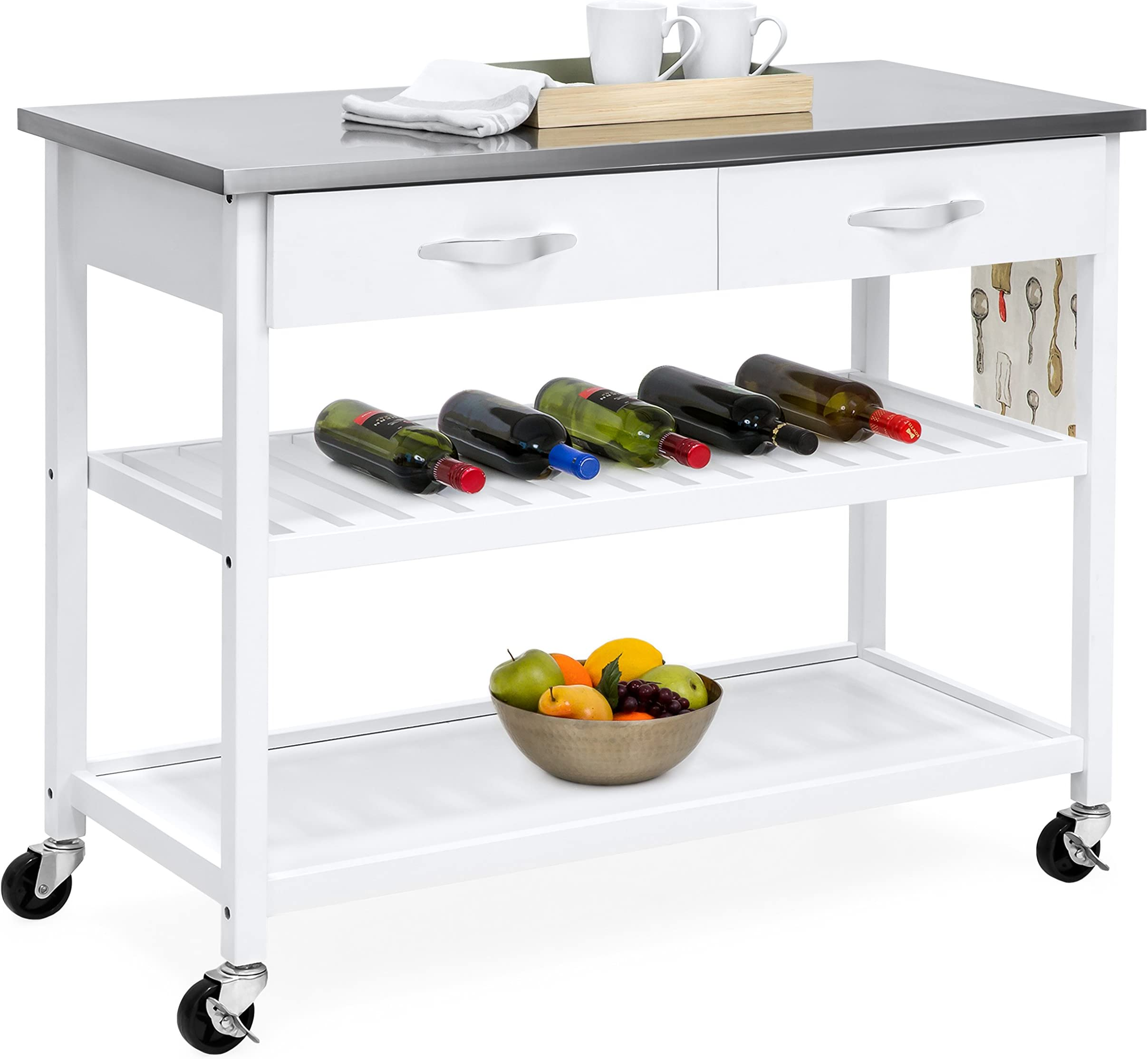 best choice products mobile kitchen island  kitchen islands  u0026 carts   amazon com  rh   amazon com