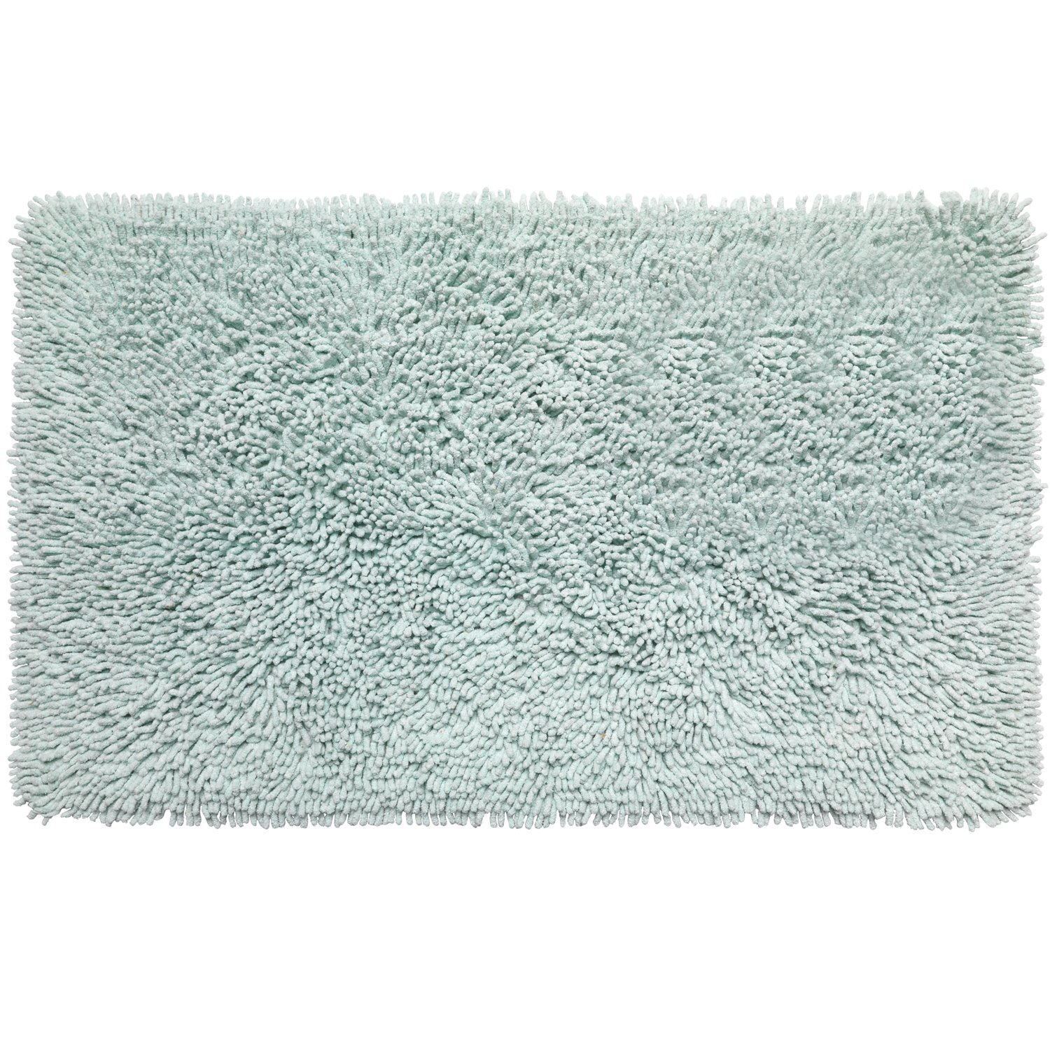 Sweet Home Collection 100% Cotton Bath Rug 21'' x 34'' Quick Dry Soft and Absorbent Non Slip Back Bathroom Mat with Shaggy Chenille Noodle Design, Spa Blue