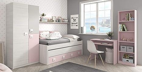 Miroytengo Pack Muebles habitación Infantil Completa Dormitorio Juvenil Color Rosa con somieres incluidos (Cama + Estante + Armario + Mesa + ...