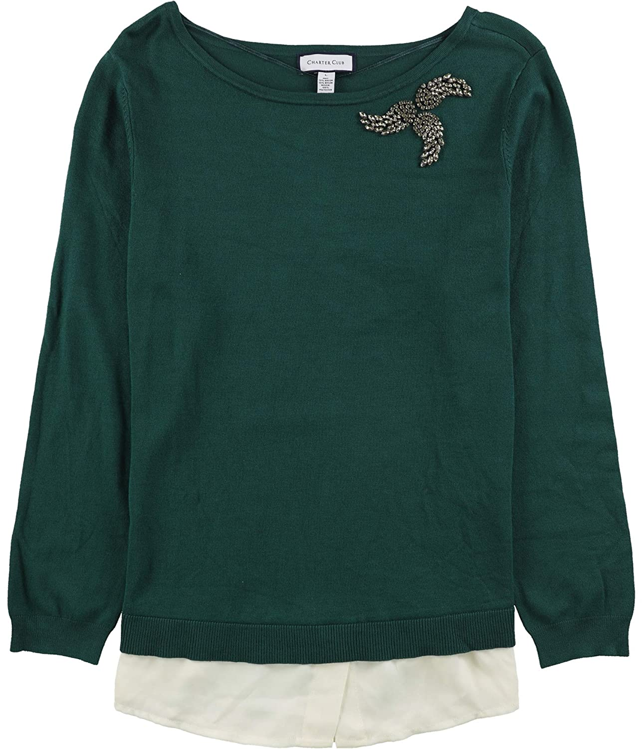 Charter Club Womens Embellished Pullover Sweater