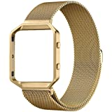 SuperSoldierFitbit Blaze Accessories.Milanese Loop Stainless Steel Bracelet Strap and Stainless Steel Metal Watch Frame Holder Shell For Fitbit Blaze Smart Watch (Gold Frame+Loop)
