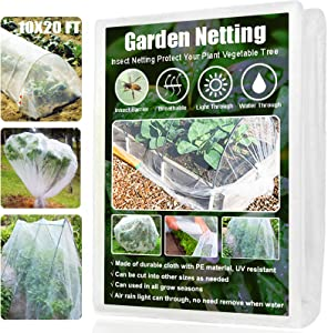 Amgate Garden Netting Pest Barrier, 10x20 Ft Mesh Bug Insect Netting for Plants Garden Trees Vegetables Fruits Flowers Crops Row Cover Mosquito Screen Net