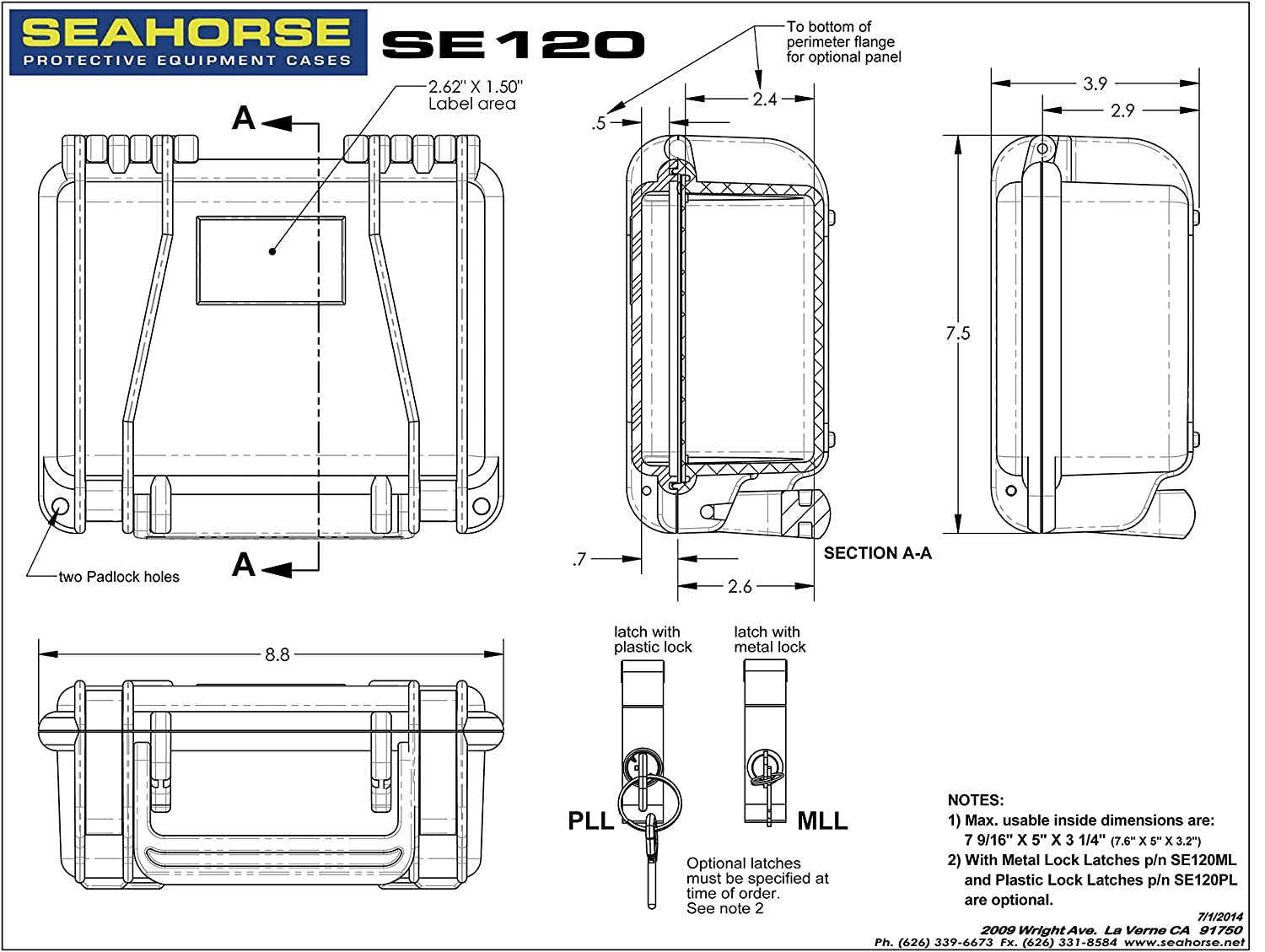 Seahorse Se120 Protective Case Black Sports Outdoors 540 Wiring Diagram