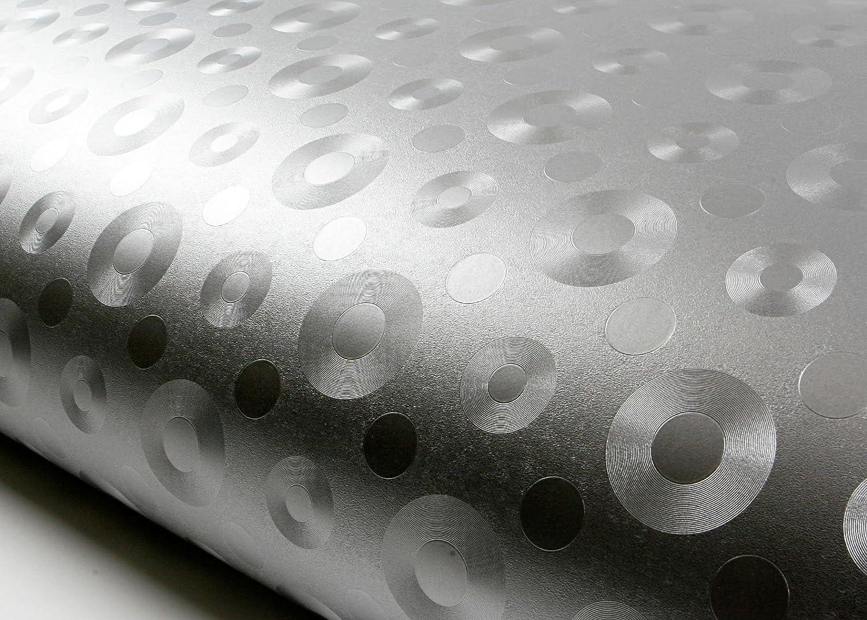 ROSEROSA Peel and Stick Flame Retardant PVC Instant Metallic Self-Adhesive Covering Countertop Backsplash Metal Round (MF5127-4 : 2.00 Feet X 6.56 Feet)