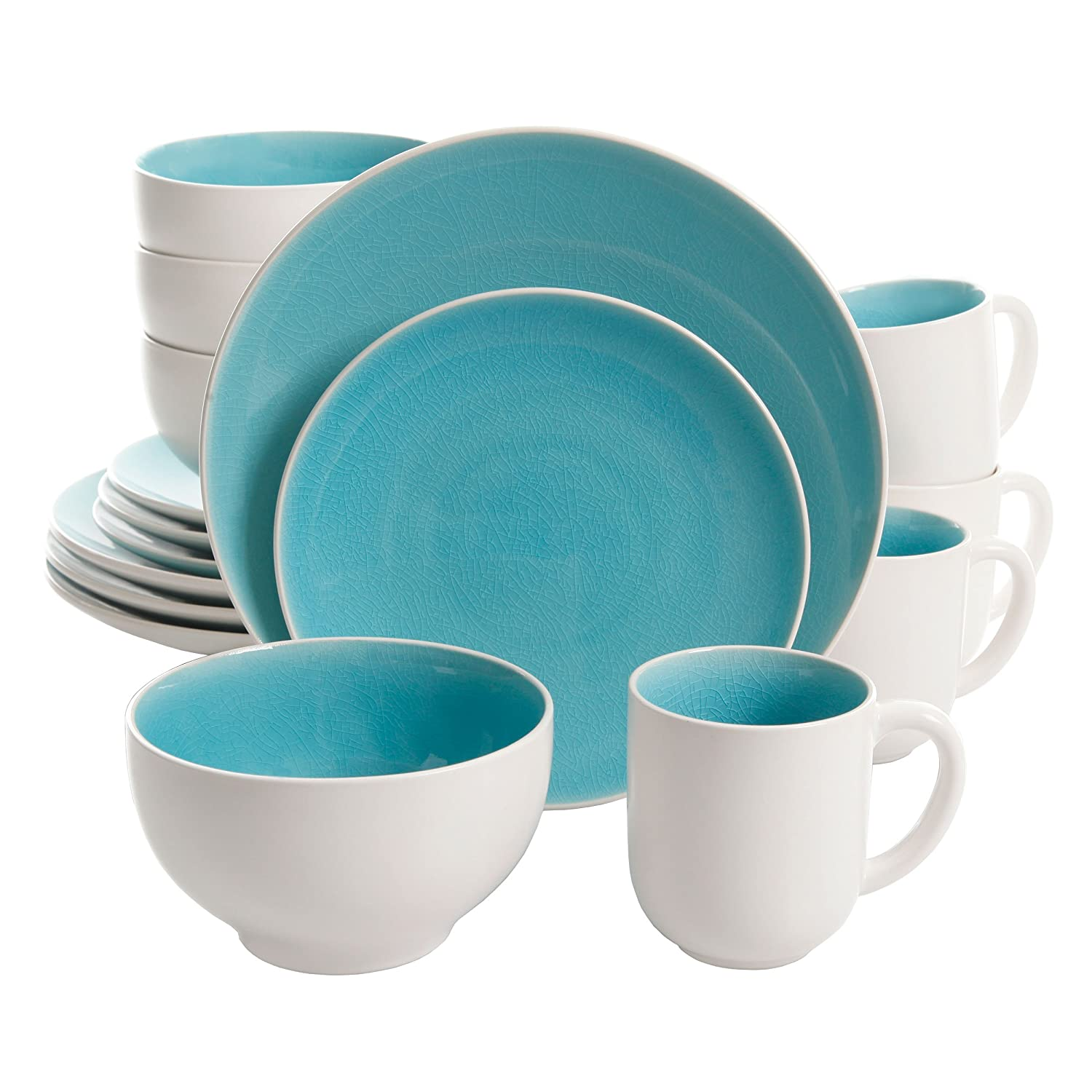 Amazon.com Gibson Elite Serenity 16 Piece Dinnerware Set Turquoise/White Kitchen \u0026 Dining  sc 1 st  Amazon.com : turquoise dinnerware - pezcame.com