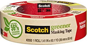 "3M 2050-36A 1.41"" Scotch Painters' Masking Tape For Trim Work"