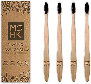 Mofik - Cepillo de dientes de bambú con cerdas de carbón vegetal ...