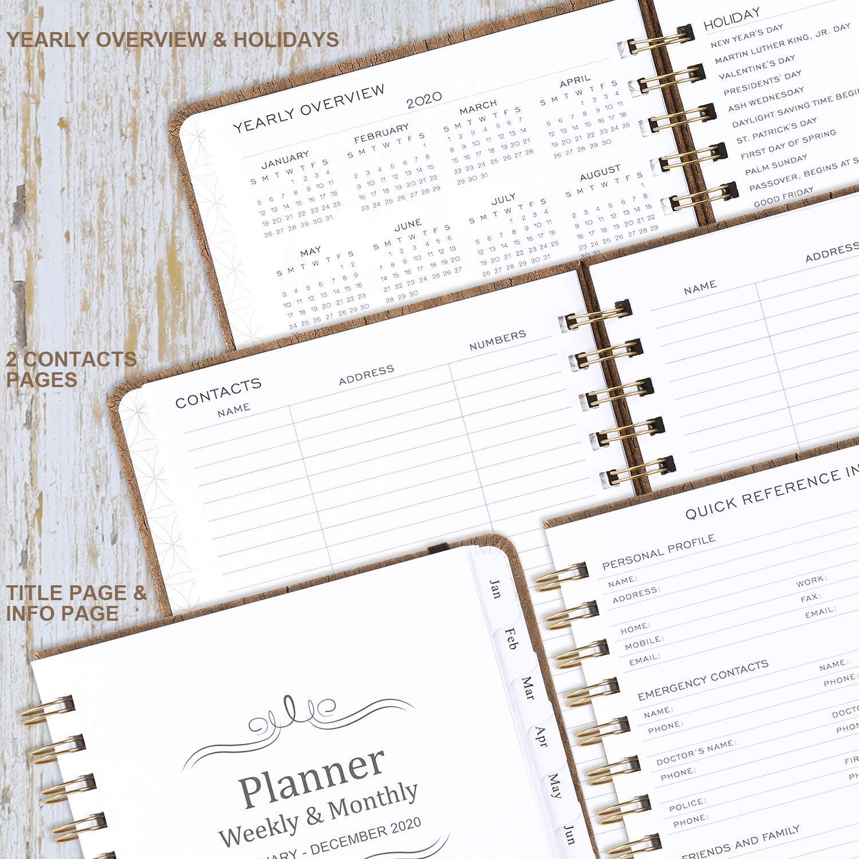 15x21cm Terminplaner Kalender 2020 A5 Wochenplaner mit Monatlichen Registerkarten