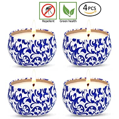YCYH Citronella Candles Set 4 Soy Wax Travel Tin 2.5oz, Outdoor and Indoor