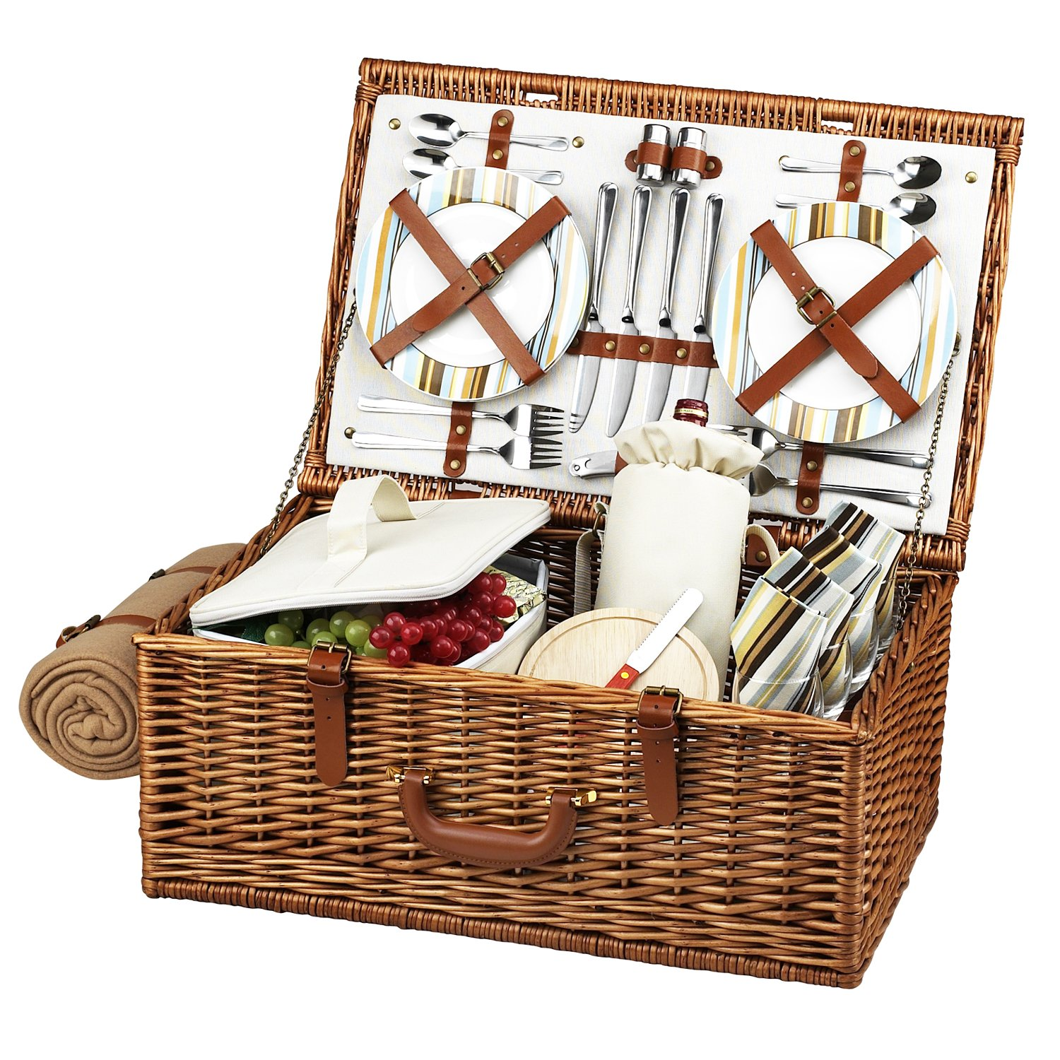 Picnic at Ascot Original Dorset English-Style Willow Picnic Basket with Service for 4 and Blanket- Designed, Assembled & Quality Approved in the USA by Picnic at Ascot